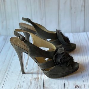 Authentic Valentino Grey Suede Chiffon Rose Pumps